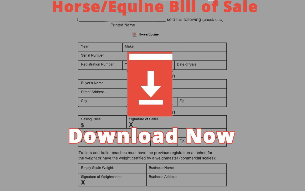 Ohio Horse/Equine Bill of Sale