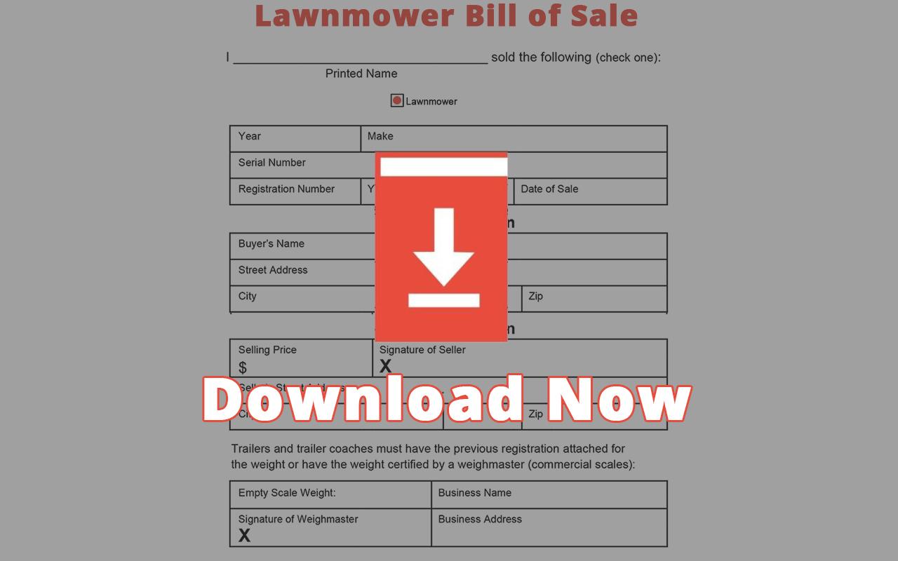 Lawnmower Bill of Sale