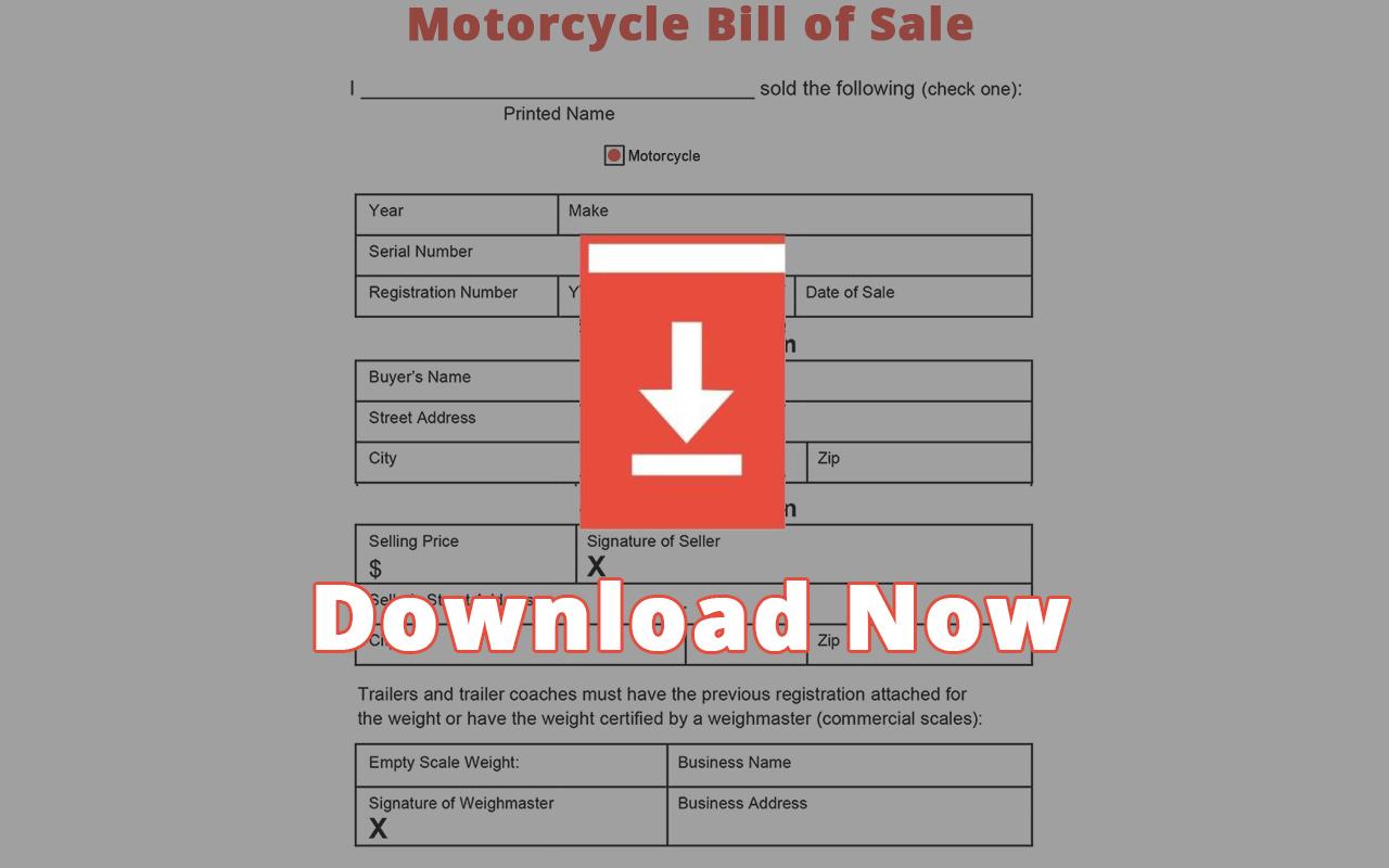 West Virginia Motorcycle Bill of Sale Template