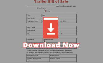 General Trailer Bill of Sale Template