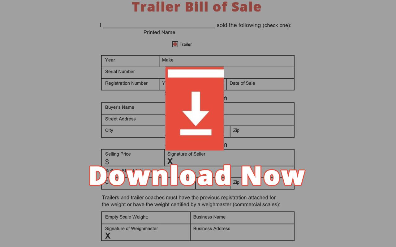 Virginia Trailer Bill of Sale Template